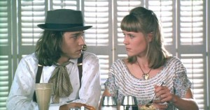 Sam (Johnny Depp) and Joon (Mary Stuart Masterson) share some tapioca pudding.